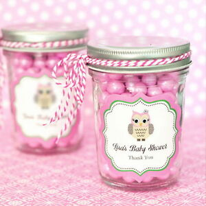 Image Is Loading 24 Personalized Pink Owl Theme Mini Mason Jars