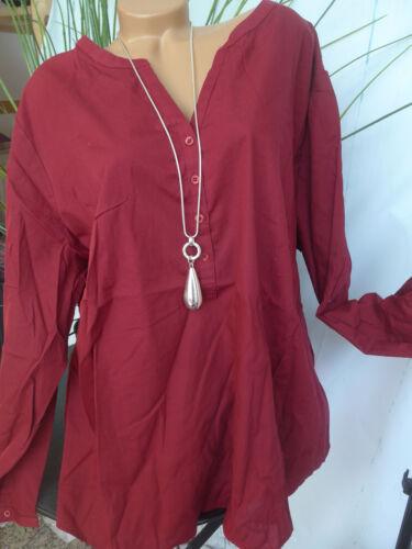 128 NEUF 442 Sheego Long Tunique Chemisier Shirt Manches Longues Bordeaux son