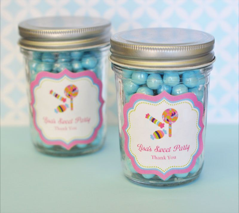 24 Personalized Sweet Shoppe Party Theme Mini Mason Jars Birthday Party Favors