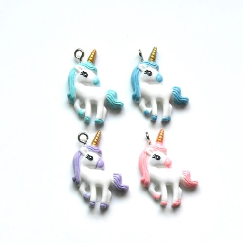 12X Mixed Style Cute Unicorn Pony Resin Pendant For DIY Necklace Making Craft