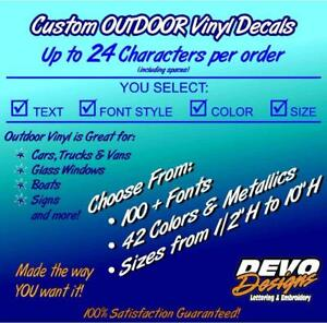 Details about Custom Vinyl Lettering OUTDOOR Decal Sticker Car Truck Boat  Personalized Text