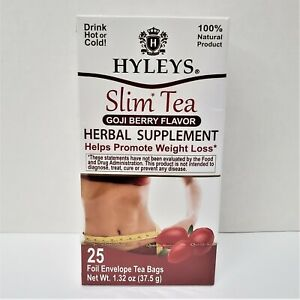 Hyleys Slim Tea Goji Berry Flavor 25 Foil Envelope Tea Bags 1 32