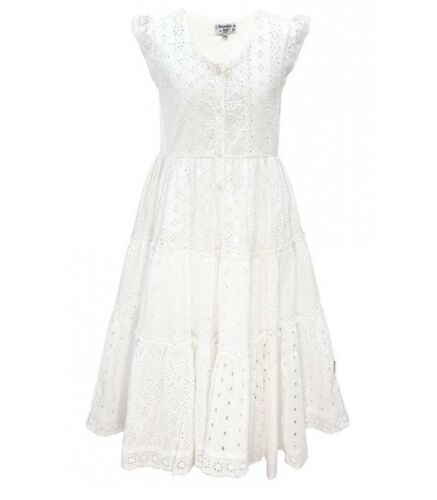 Domino Girls 100/% cotton Pink /& White Chambray Lace Trim Flare Party Dress 3-11y
