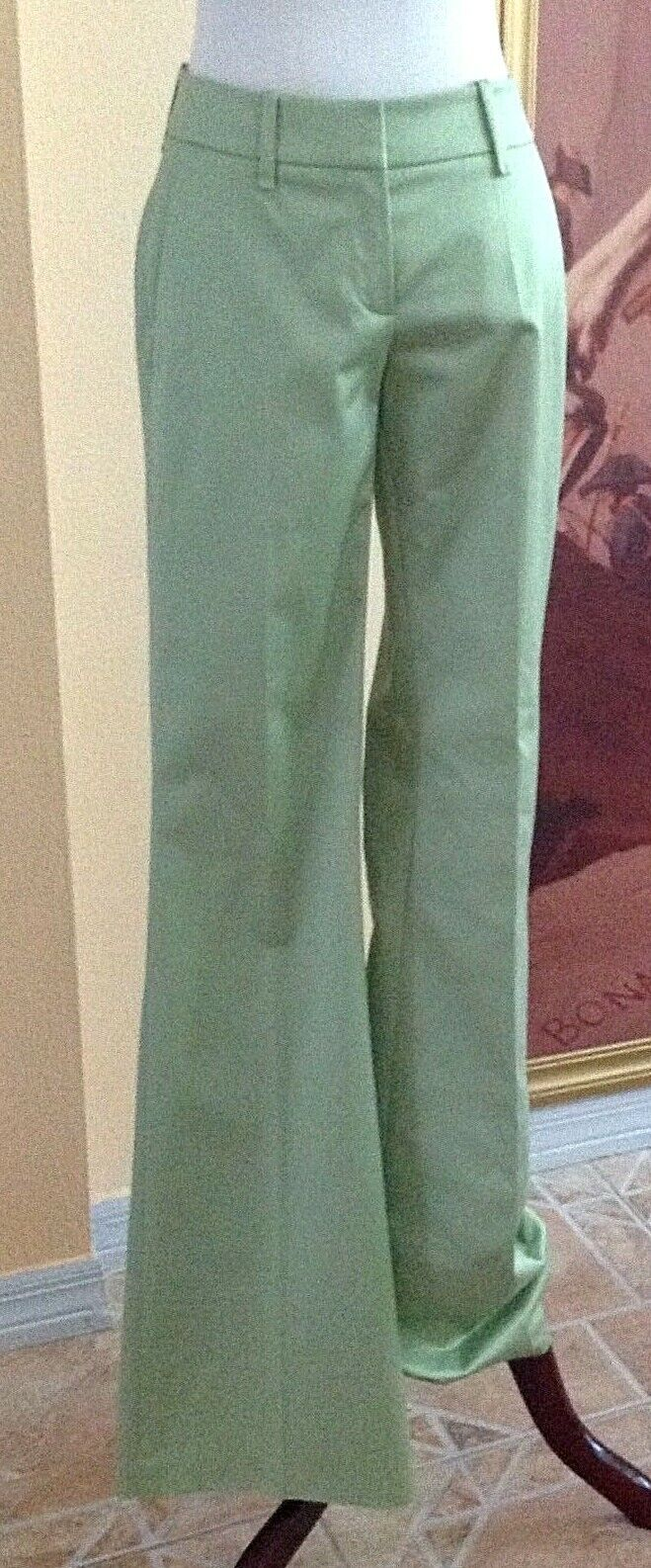 BOSS HUGO BOSS NWT Green Cotton Sateen Pleated Flared Leg Trousers Pants Size 2