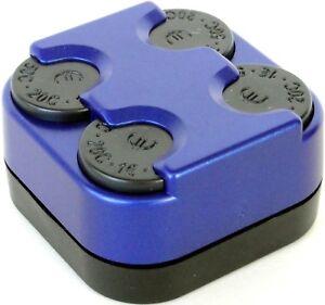 Bis 1 Euro Münzbox Münzhalter M6 Münzenspender METALL BLUE von HR / RICHTER