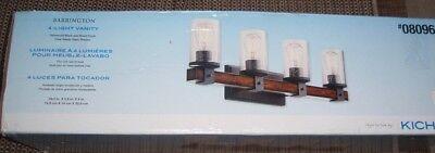 Kichler Barrington 4-Light 29.5-in Cylinder Vanity Light Distressed Black Wood