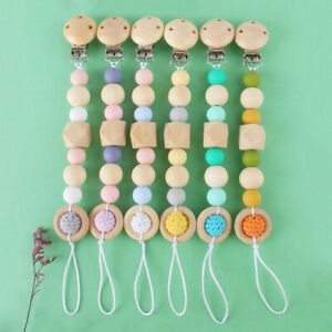 Dummy Pacifier Chain Clip Wood Silicone Beads Baby Chew Teething Soother Holder