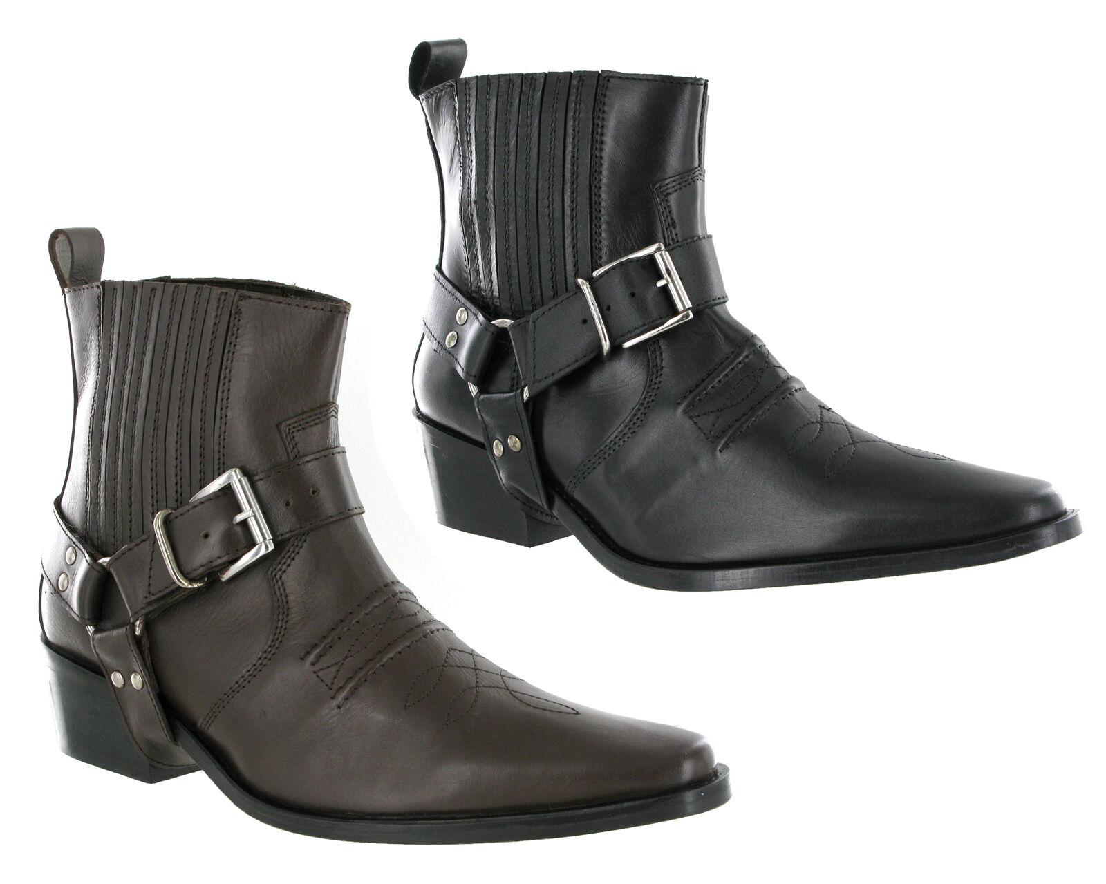 Para Hombre gringos Clive Cuero tire a Western arnés Tobillo botas de vaquero del Reino Unido 6-12