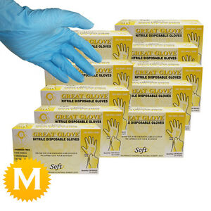 1000 Nitrile Powder Free Disposable Blue Gloves - 10 boxes - Size Medium