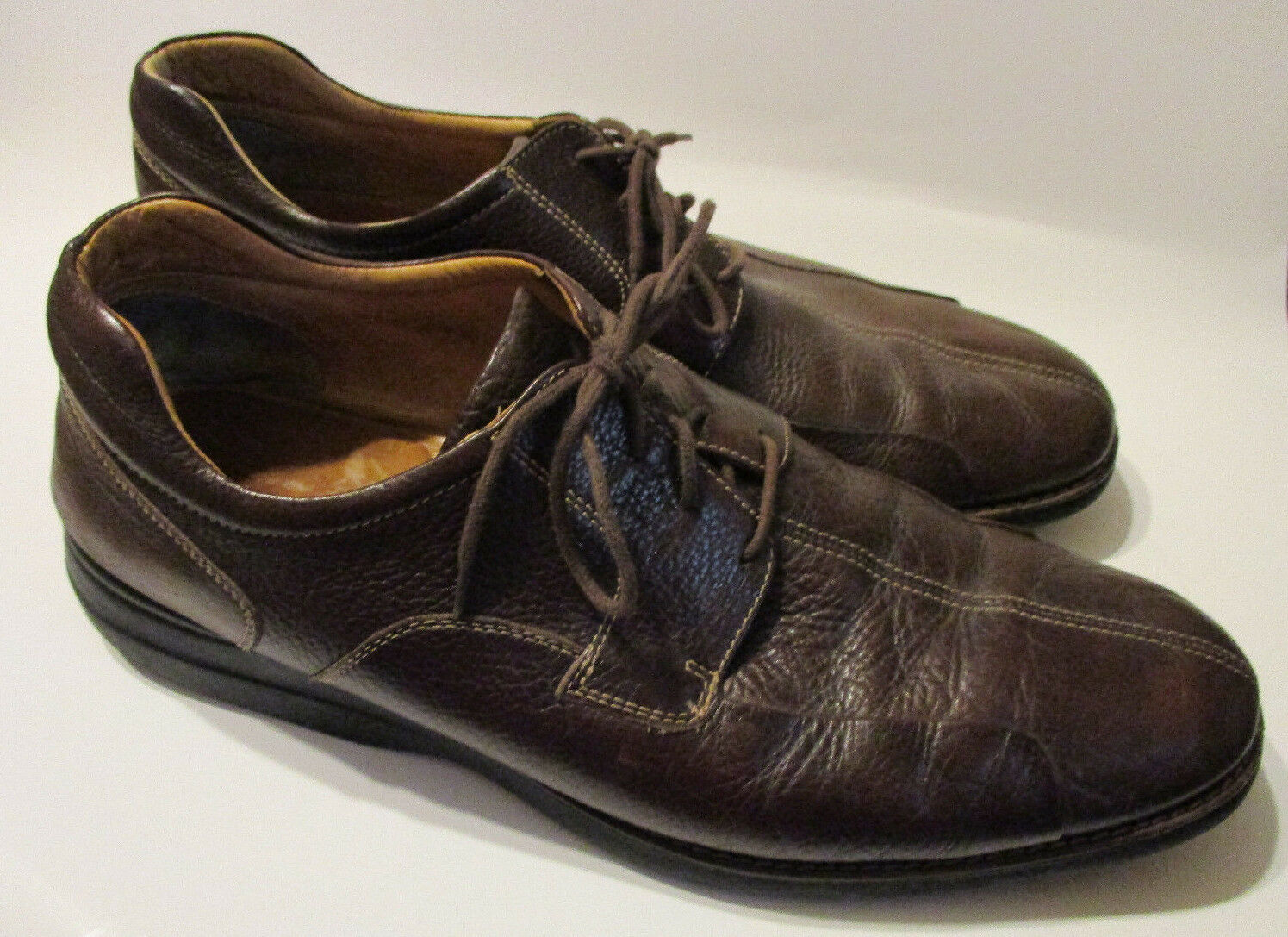 16 W Johnston Murphy Oxfords shoes Shuler Bicycle Toe Brown Leather 20-7223 Wide