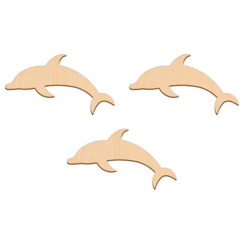 Forma Delfín artesanía Blanco 15x8.4cm Madera de Abedul Decoración Adorno De Etiqueta