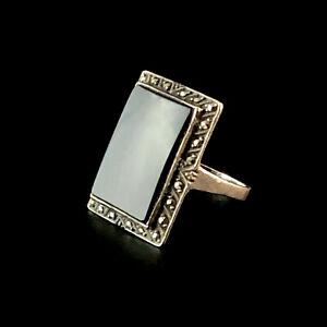 Black Onyx German Silver Ring