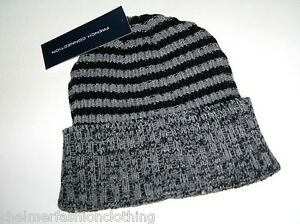 FRENCH CONNECTION FCUK Ribbed Striped Beanie Hat   Black Grey BNWT