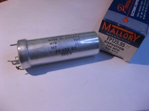 Electrolytic-Capacitor-1-Sect-160uF-250VDC-Mallory-FP125-95-85C-NOS