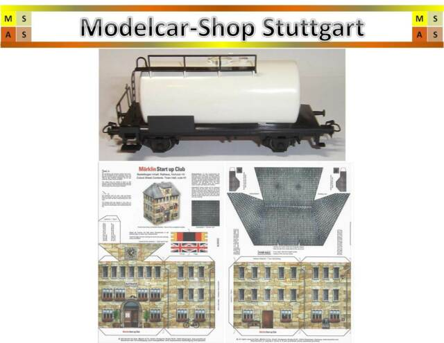 """Märklin 4440 Ho Tank Wagon White - Unprinted + Craft Sheets """" City Hall """""""