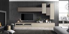 Wohnwand 8-tlg. Lack matt in 15 Farben wählbar + TV Lowboard + Hängeschränke