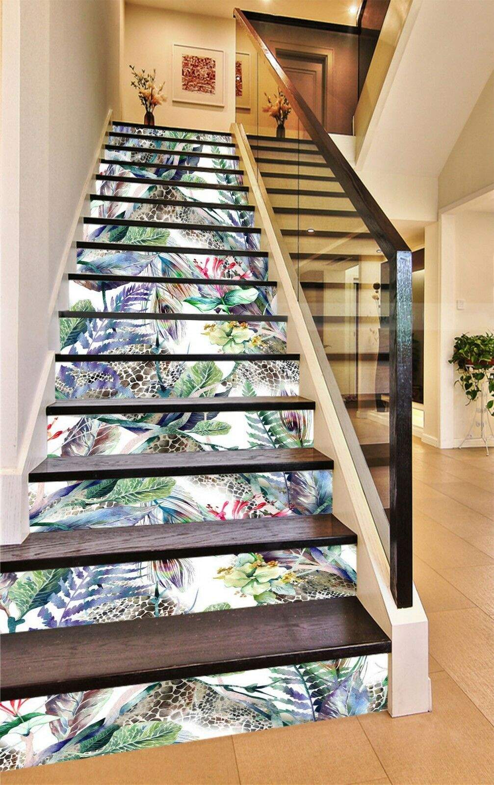 3D Flowers Paint 3 Stair Risers Decoration Photo Mural Vinyl Decal Wallpaper US