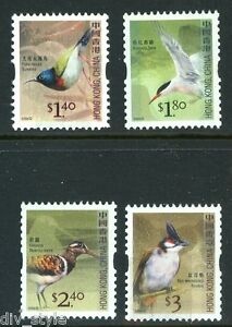 Birds-definitive-coil-stamps-set-of-4-mnh-Hong-Kong-2006-1245-8-singles-strips