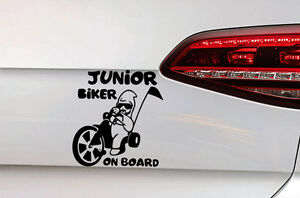 baby on board auto heckscheiben sticker junior biker. Black Bedroom Furniture Sets. Home Design Ideas