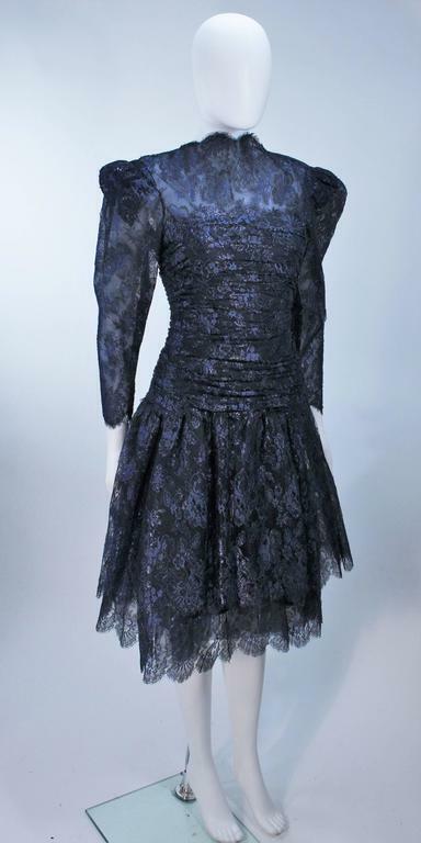 ARNOLD SCAASI Navy Metallic Lace Cocktail Dress S… - image 4
