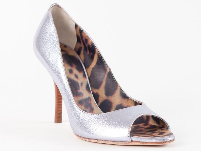 New  Roberto Cavalli Metallic purplec Leather shoes Size 37 US 7