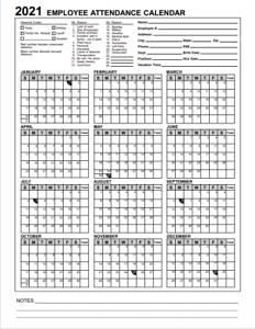 2021 Employee & Staff Attendance Record Calendar: CHOOSE ...