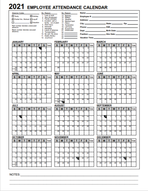 2018 Employee & Staff Attendance Record Calendar in PDF Format for