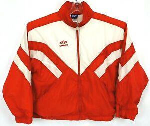Umbro RedWhite Windbreaker jacket full zip up chest logo adjustable strings classic sportswear ProperGetUP
