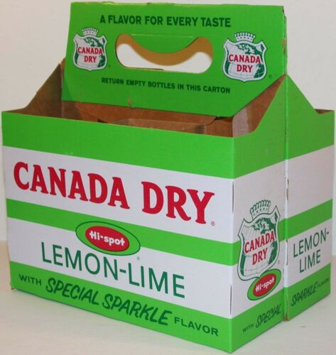 Vintage soda pop bottle carton CANADA DRY HI SPOT Lemon Lime new old stock nrmt