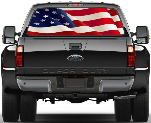 USA American Waving Flag Rear Window Graphic Decal for Truck SUV Vans Ver-C