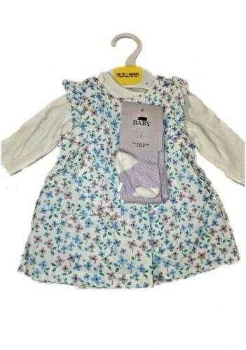 M/&S Baby Girl 3 Piece Dress Bodysuit Vest tights White Purple NB 1 3 6 9 12...
