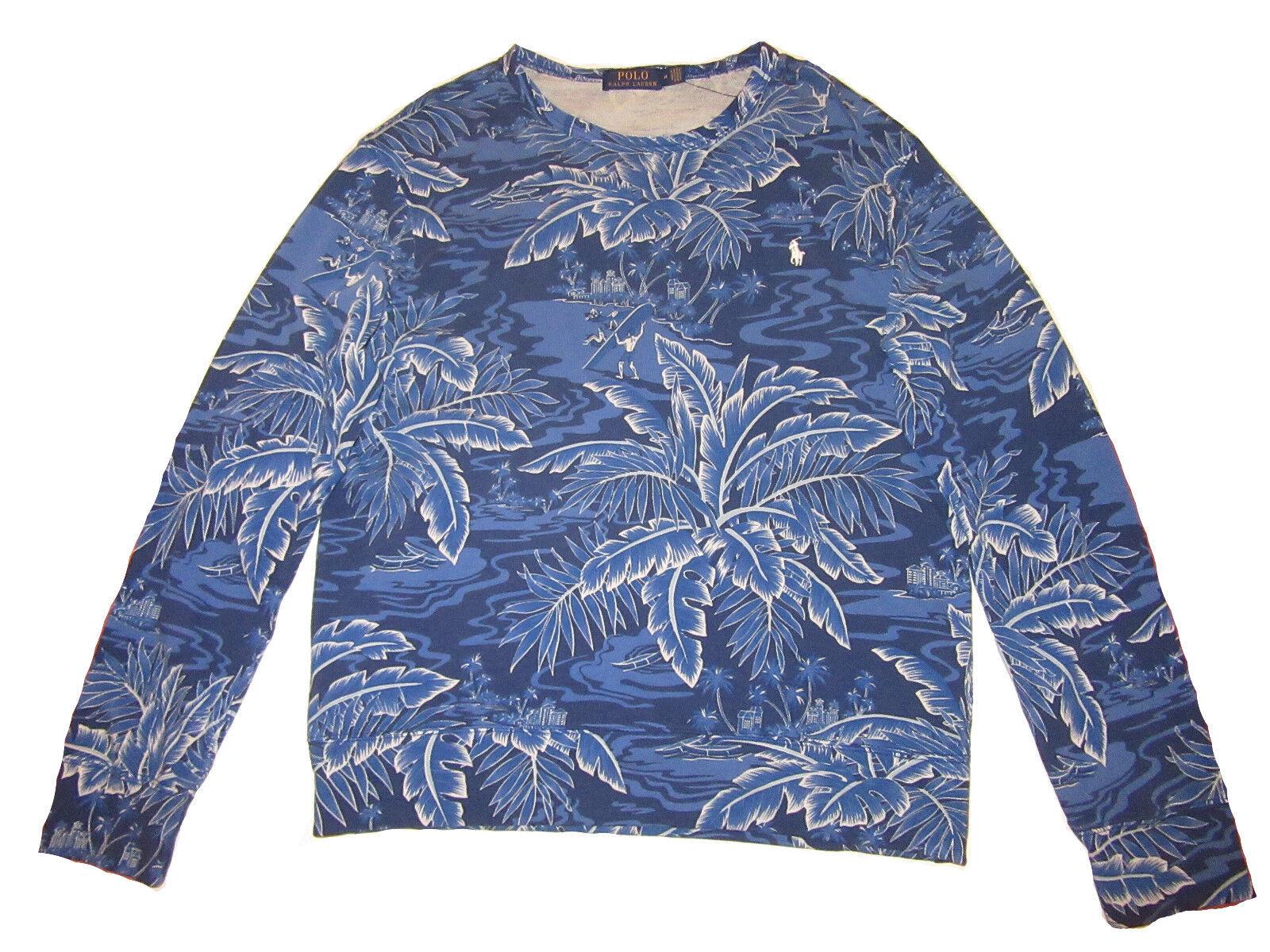 Polo Ralph Lauren Royal Blau Floral Surfer Terry Beach Sweatshirt Medium