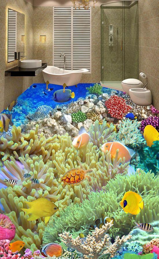 3D sea Fisch Wasser 953 Fototapeten Wandbild Fototapete Bild Tapete Familie
