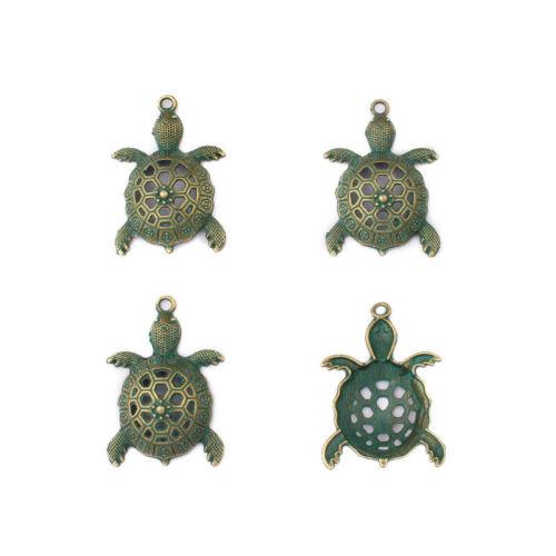 2pcs Verdigris Patina Jewelry Findings Hollow Turtle Tortoise Charm Pendant DIY