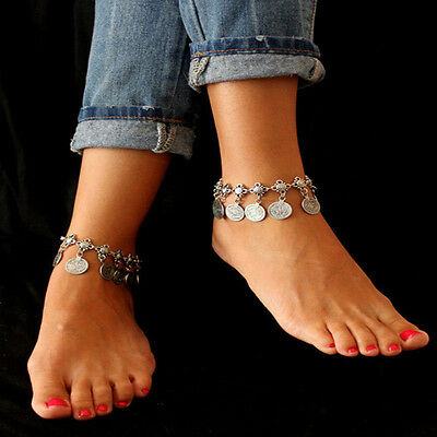 Antique Silver Boho Gypsy Coin Anklet Ankle Bracelet Foot Chain Women Jewelry