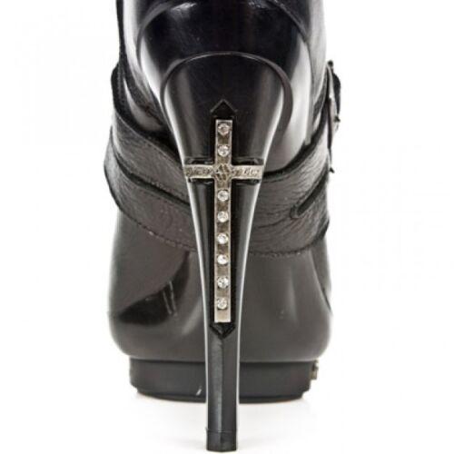 Newrock New Rock Punk061 S1 Black Leather Punk Platform Studs T Cross Boots Heel