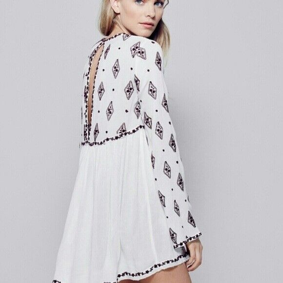 NWT FREE PEOPLE DIAMOND EMBROIDErot TUNIC DRESS L LARGE AUTHENTIC   SFS