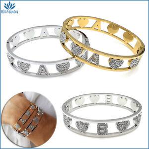 Bracciale da donna braccialetto rigido nome con lettera iniziale in acciaio per