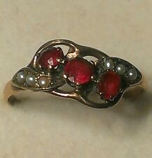 Antique Georgian c.1840 1ct. Ruby and 6 pearl 14ct. gold ring