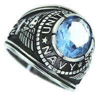 Sea Blue Stone Navy Us Military Silver Stainless Steel Crown Top Mens Ring