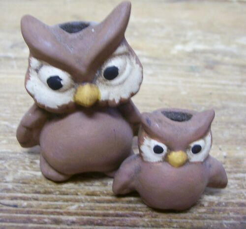 2 Owl Candle Holder Figural Miniature Mini Vintage Ceramic Doll House