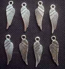 8 Angels Wings Charms Silver Tone Metal 29mm