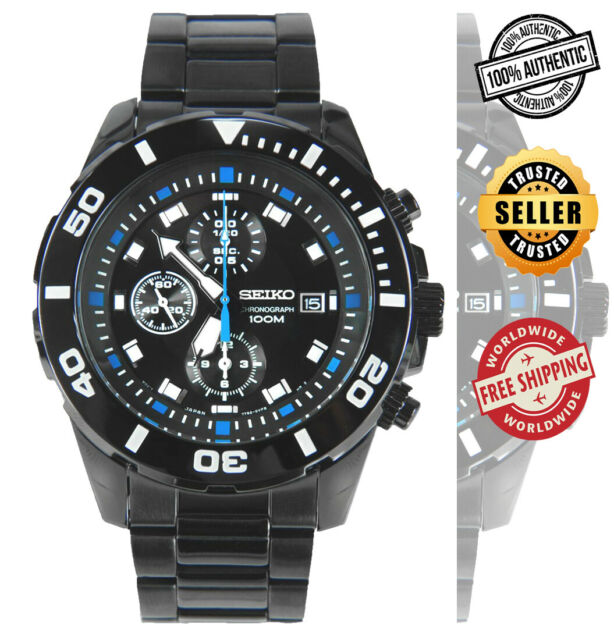 Seiko Chronograph Snde01 Snde01p1 Men Black Ion Plated Stainless Steel Watch