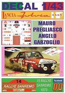 DECAL 1/43 LANCIA FULVIA HF M.PREGLIASCO R.SANREMO 1973 7th (03) - España - DECAL 1/43 LANCIA FULVIA HF M.PREGLIASCO R.SANREMO 1973 7th (03) - España
