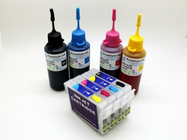 Refillable Ink Cartridge Kits fits Epson WorkForce WF3620DWF WF3640DTWF NON-OEM