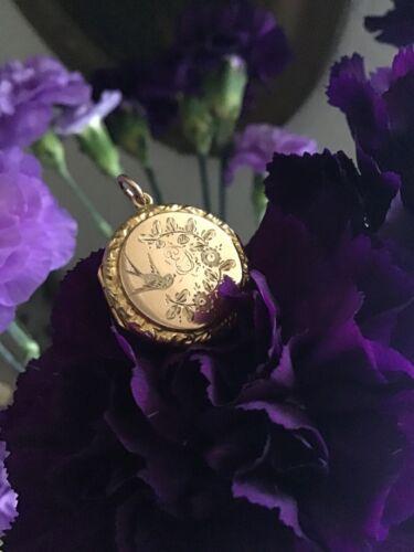 Edwardian Bird Floral Locket, Edwardian Gold Lock… - image 1