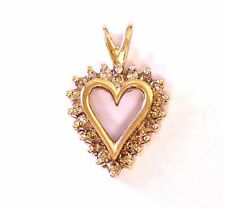 14k white gold .25ct SI2 K women's diamond heart pendant 1.7g ladies estate