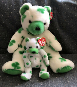 Ty Original Beanie Baby & Buddy Clover The Shamrock Bear Green And White