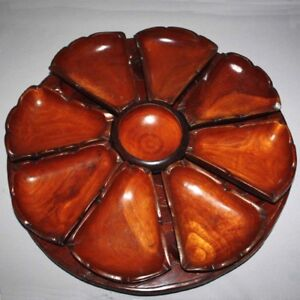 Vintage-70-039-s-HAITIAN-Hand-Carved-Double-Sided-Wood-LAZY-SUSAN-Haiti-Ordeuvres