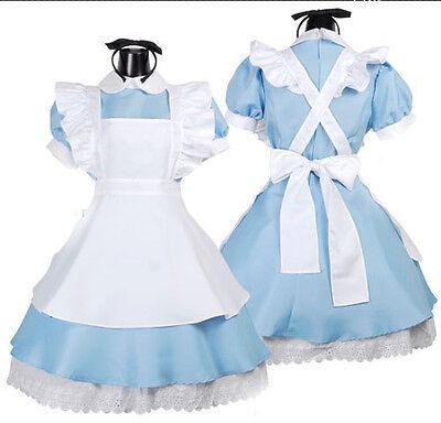 Alice In Wonderland Cosplay Fancy Dress Girl Maid Uniform Lolita Women Costume